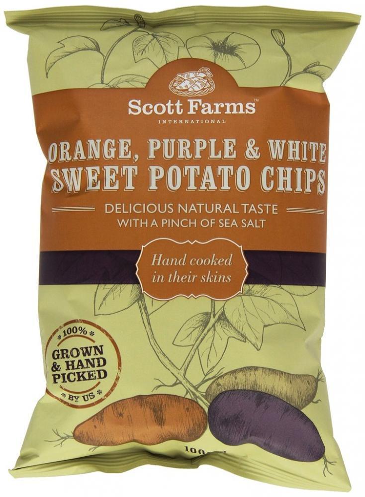 Scott Farms Orange Purple and White Sweet Potato Crisps 100g