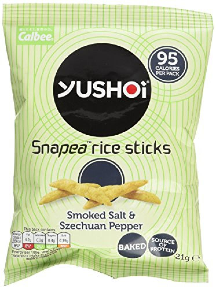 Yushoi Snapea Rice Sticks Smoked Salt And Szechuan Pepper 21g