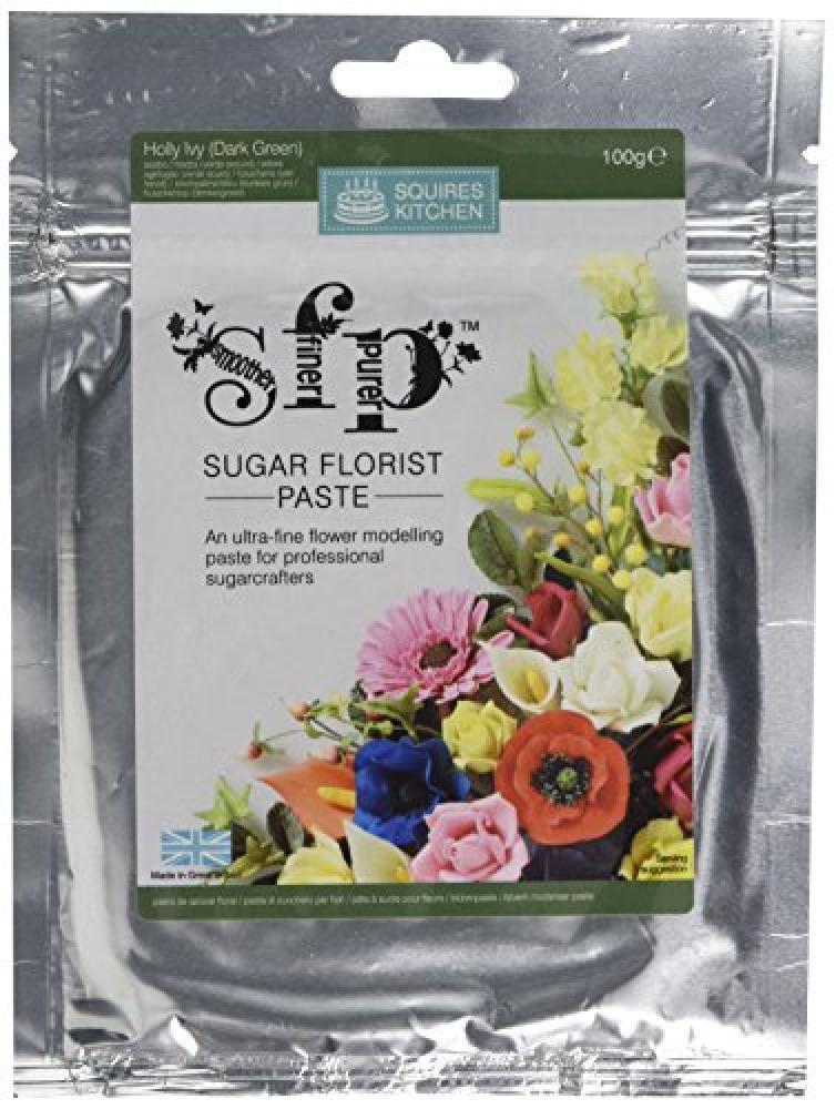 Squires Kitchen HollyIvory Dark Green Sugar Florist Paste 100g