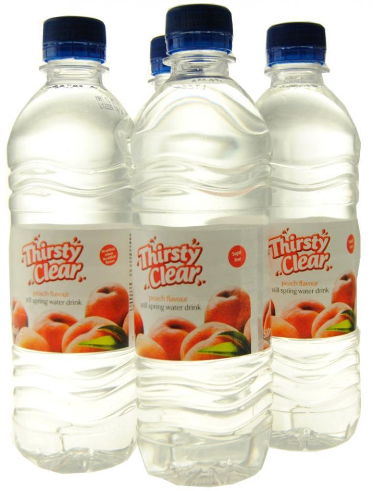 Thirsty Clear Peach Flavour Still Spring Water Drink 4 x 500ml