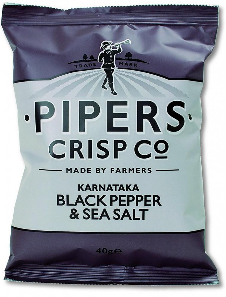Pipers Crisp Co Karnataka Black Pepper And Sea Salt 40g
