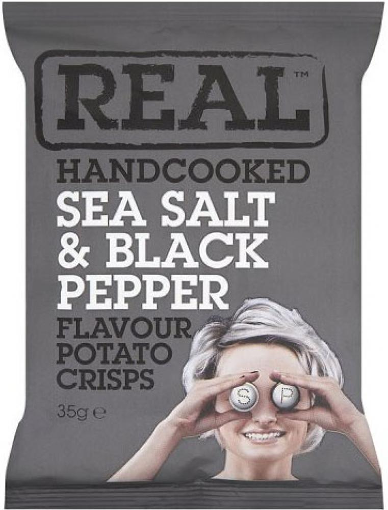 Real Handcooked Sea Salt and Black Pepper Flavour Crisps 35g