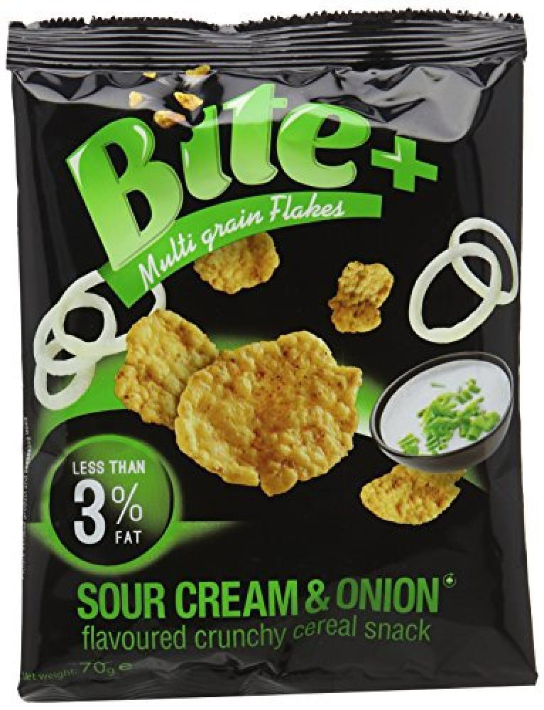 Bite Plus Sour Cream and Onion Flavoured Cereal Snack 70g 70g