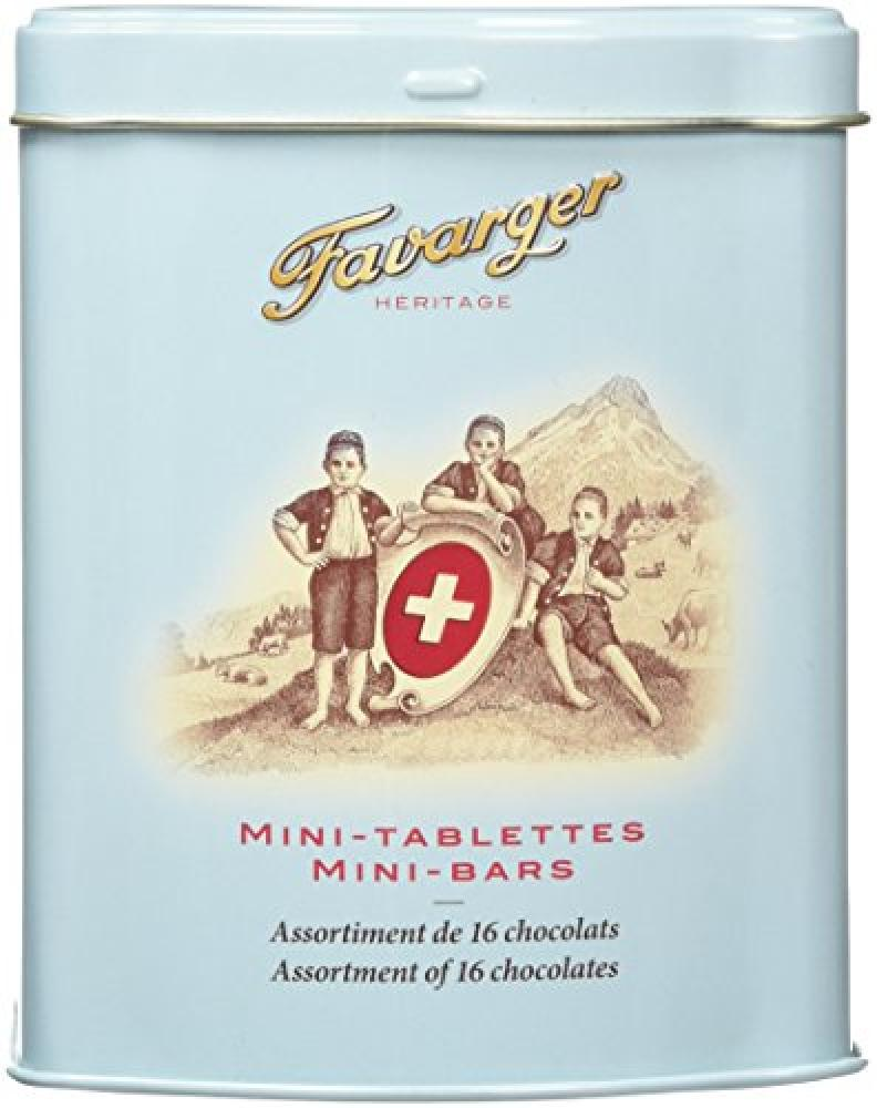 Favarger Heritage 16 Mini Chocolate Bars in Metal Tin 200g