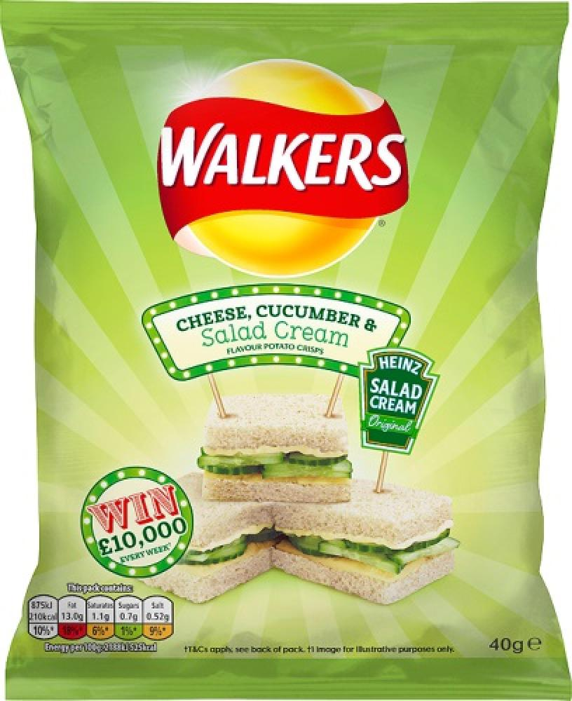 Walkers Cheese Cucumber and Salad Cream Flavour Crisps 40g