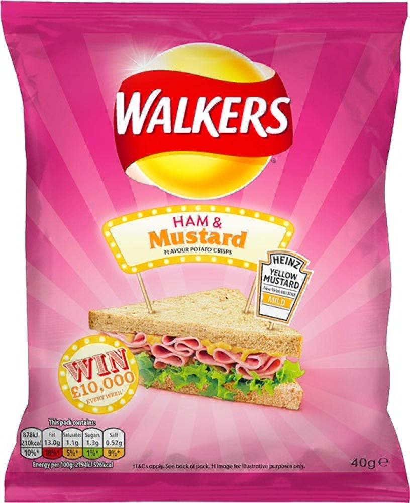 Walkers Ham and Mustard Flavour Crisps 40g