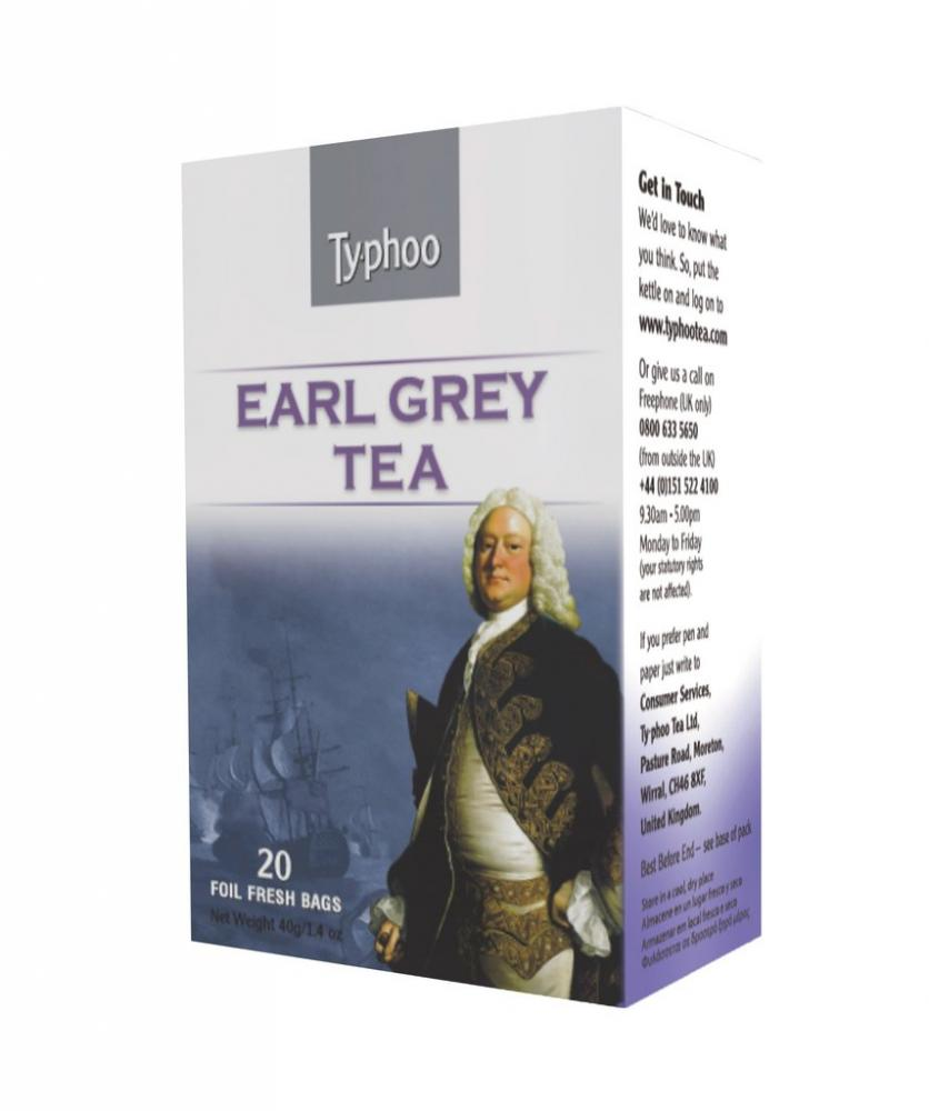 Typhoo Earl Grey Tea 20 Foil Fresh Bags