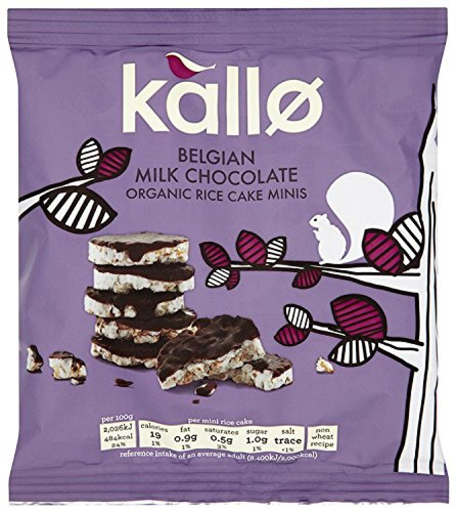 Kallo Organic Belgian Milk Chocolate Mini Rice Cakes 40 g