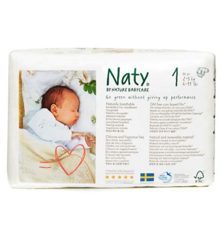 Naty By Nature Babycare Size 1 Carry Pack 26 Nappies