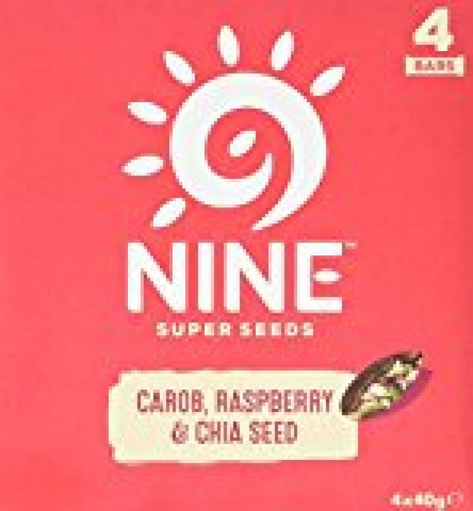 9Nine Super Seeds Carob Raspberry and Chia Seed Bar 160g