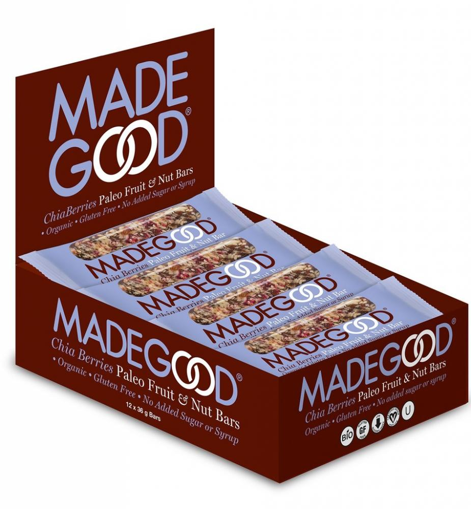 CASE PRICE  Made Good Chia Berries Paleo Fruit and Nut Bar 36g x 12