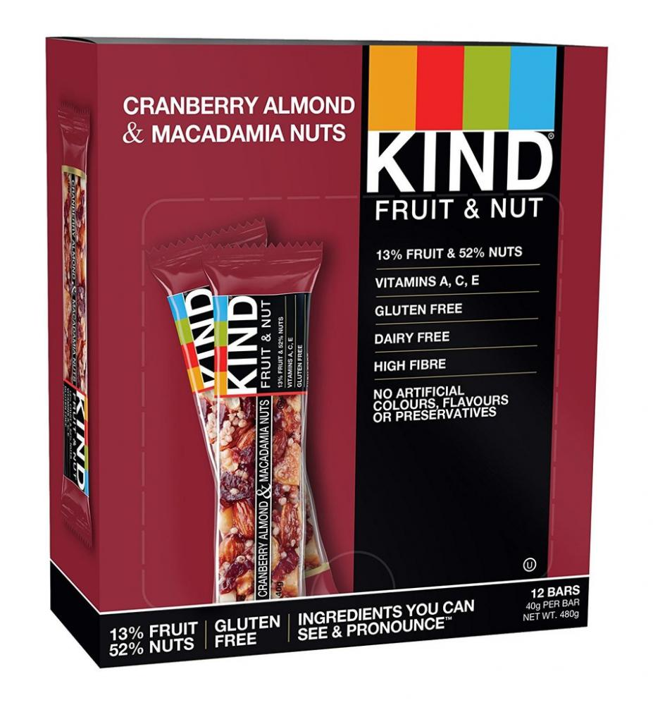 CASE PRICE  Kind Fruit and Nut Cranberry Almond and Macadamia Nuts 12 x 40g