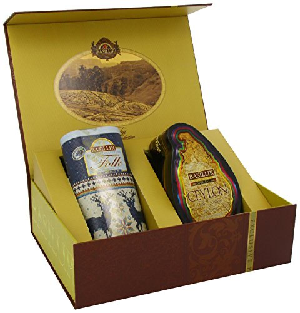 LAST CHANCE  Basilur Tea Gift Collection Brown 2 in 1 Island of Tea Special and Knitted Folk Indigo 100 g
