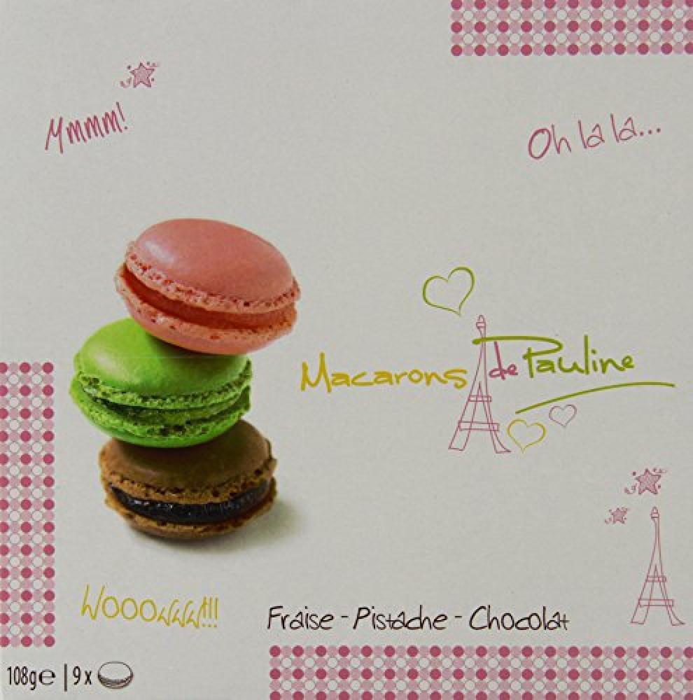 Macarons de Pauline StrawberryPistachioChocolate Box 108 g