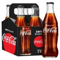 Image of MEGA DEAL Coca Cola Zero Glass Bottle 4 x 250ml