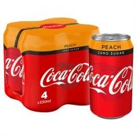 Image of TODAY ONLY Coca Cola Zero Peach 330ml x 4