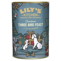 Image of WEEKLY DEAL Lilys Kitchen Christmas Three Bird Feast Dog Wet Food Tin 400g