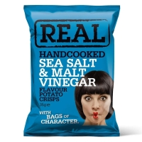 Image of Real Handcooked Sea Salt and Malt Vinegar Flavour Crisps 35g