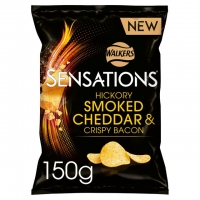 Image of WEEKLY DEAL Walkers Sensations Hickory Smoked Cheddar And Crispy Bacon Crips 150g