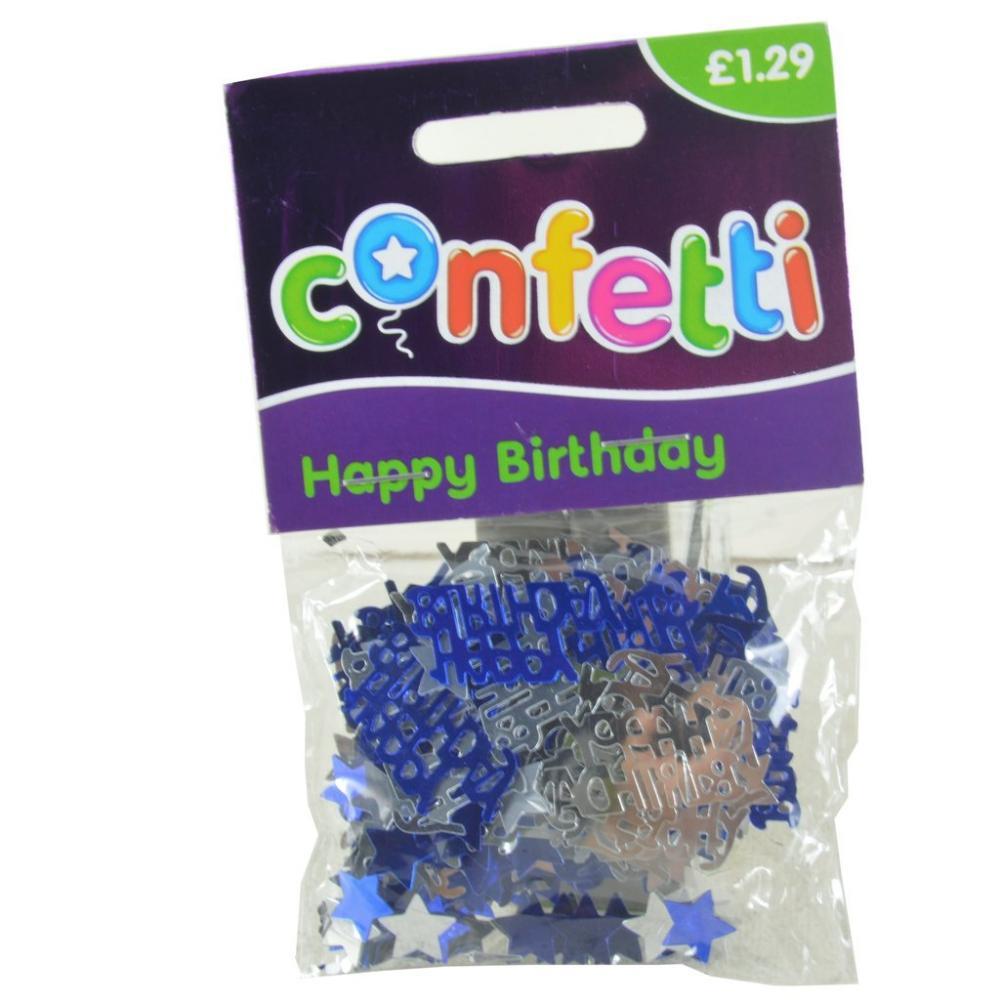 Confetti Happy Birthday Blue And Silver