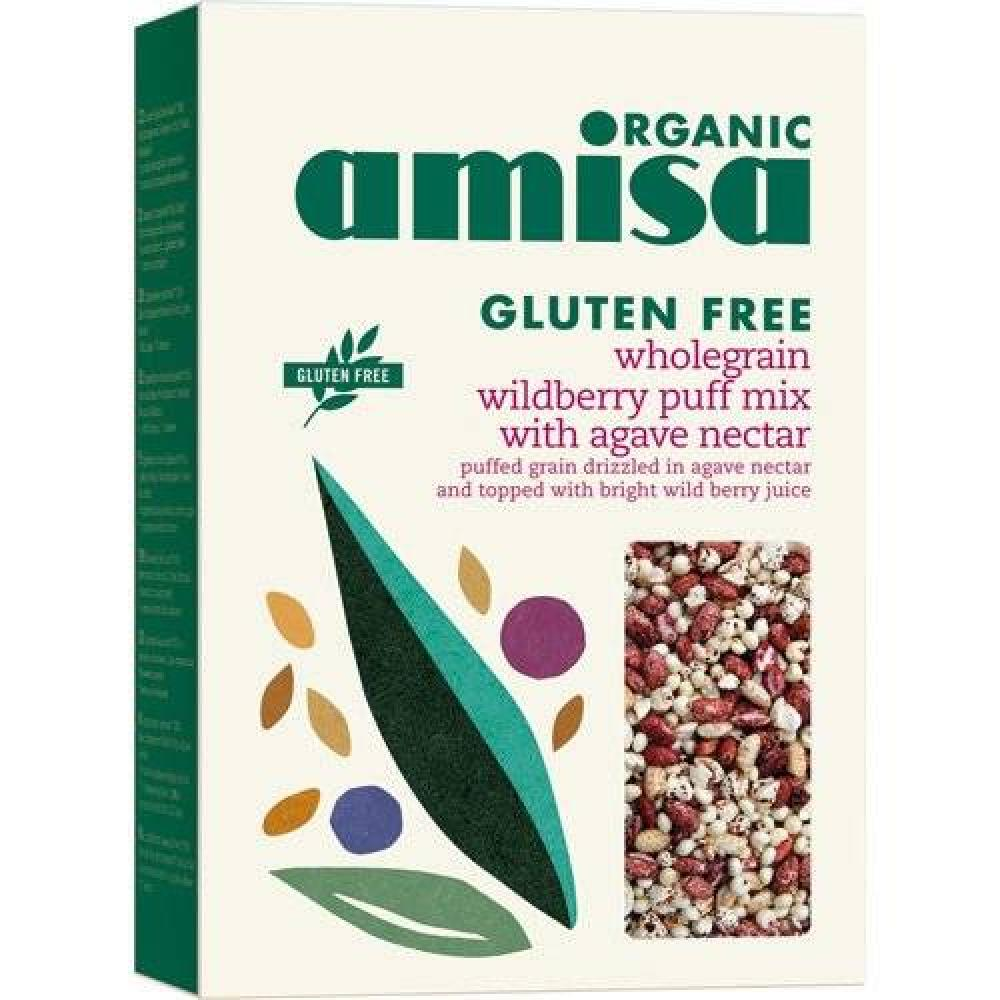 Amisa Organic Glutenfree Wholegrain Wildberry Mix Puffs With Agave Nectar 225g