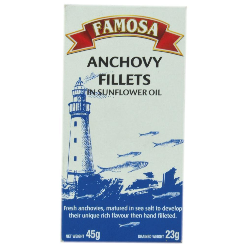 Famosa Anchovy Fillets in Sunflower Oil 45g