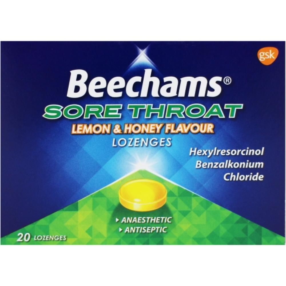Beechams Max Strength Sore Throat Lemon and Honey Flavour Lozenges 20 pack