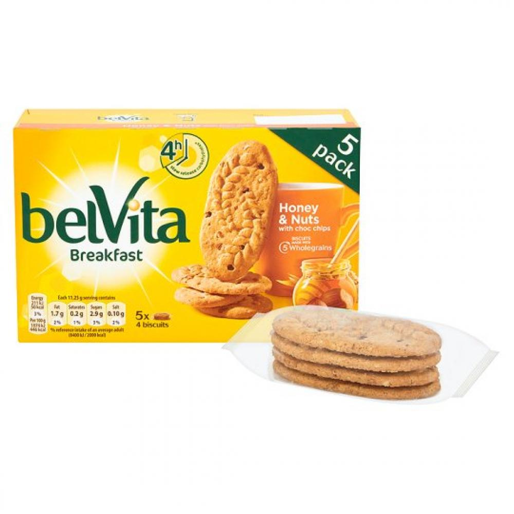Belvita Breakfast Honey and Nut Biscuits 4 pack x 5