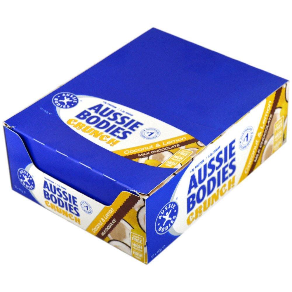 CASE PRICE  Aussie Bodies Crunch Bar Coconut and Lemon 40g x 12