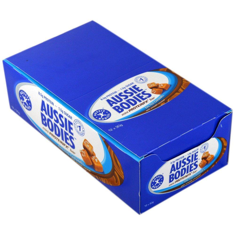 CASE PRICE  Aussie Bodies Mini ProteinFX Bar Salted Caramel 30g x 12