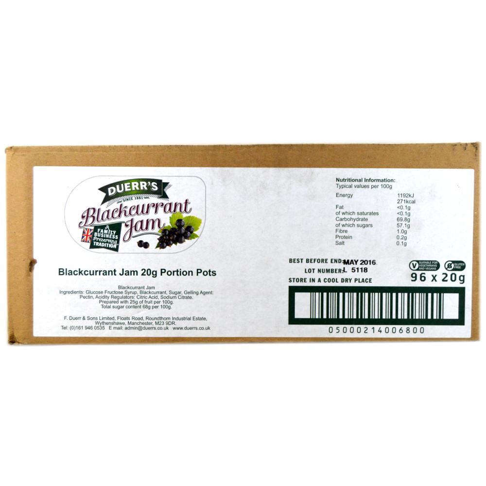 CASE PRICE  Duerrs Blackcurrant Jam 20g x 96