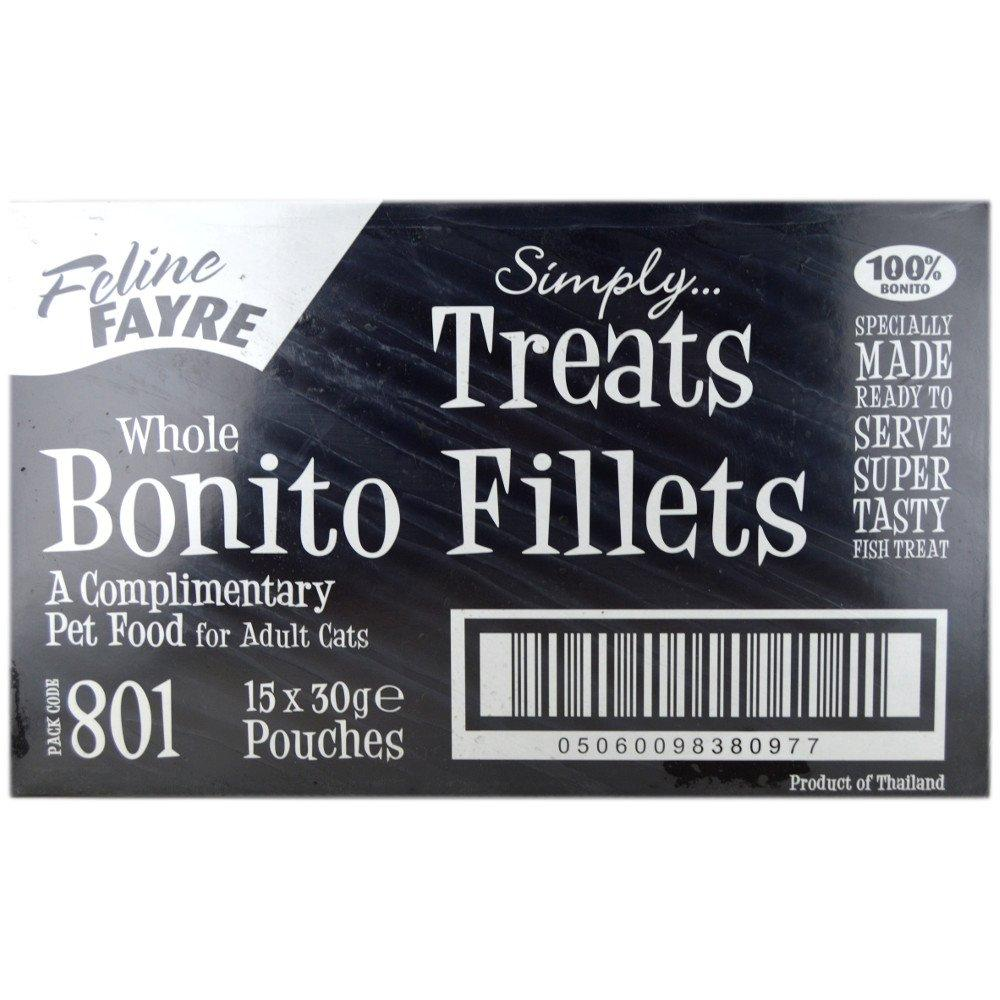 CASE PRICE  Feline Fayre Whole Bonito Fillet Treats 30g x 15