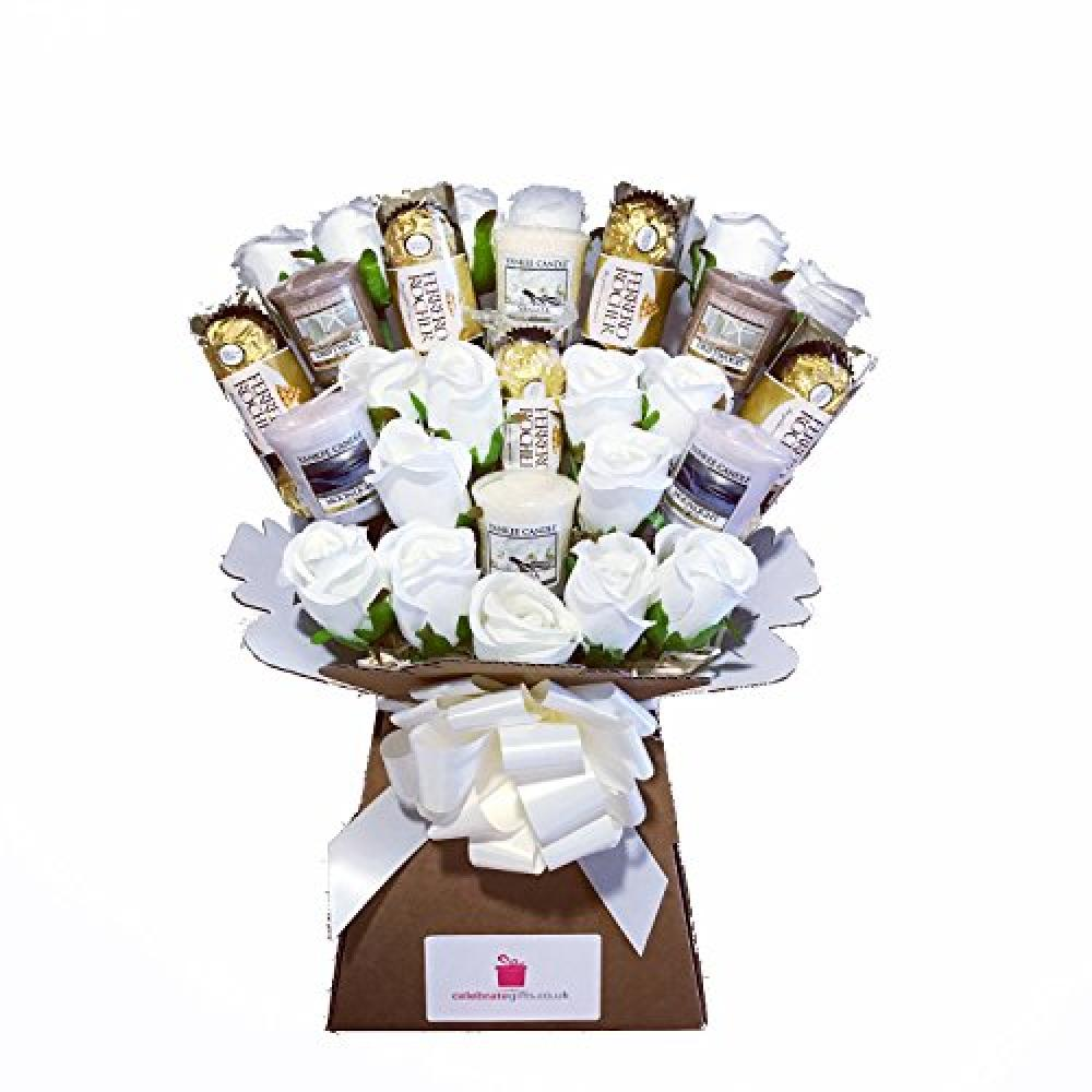 Celebrate Gifts Ltd Yankee Collection Scented CandleSilk Ivory Roses and Ferrero Rocher Chocolate Bouquet Gift Set