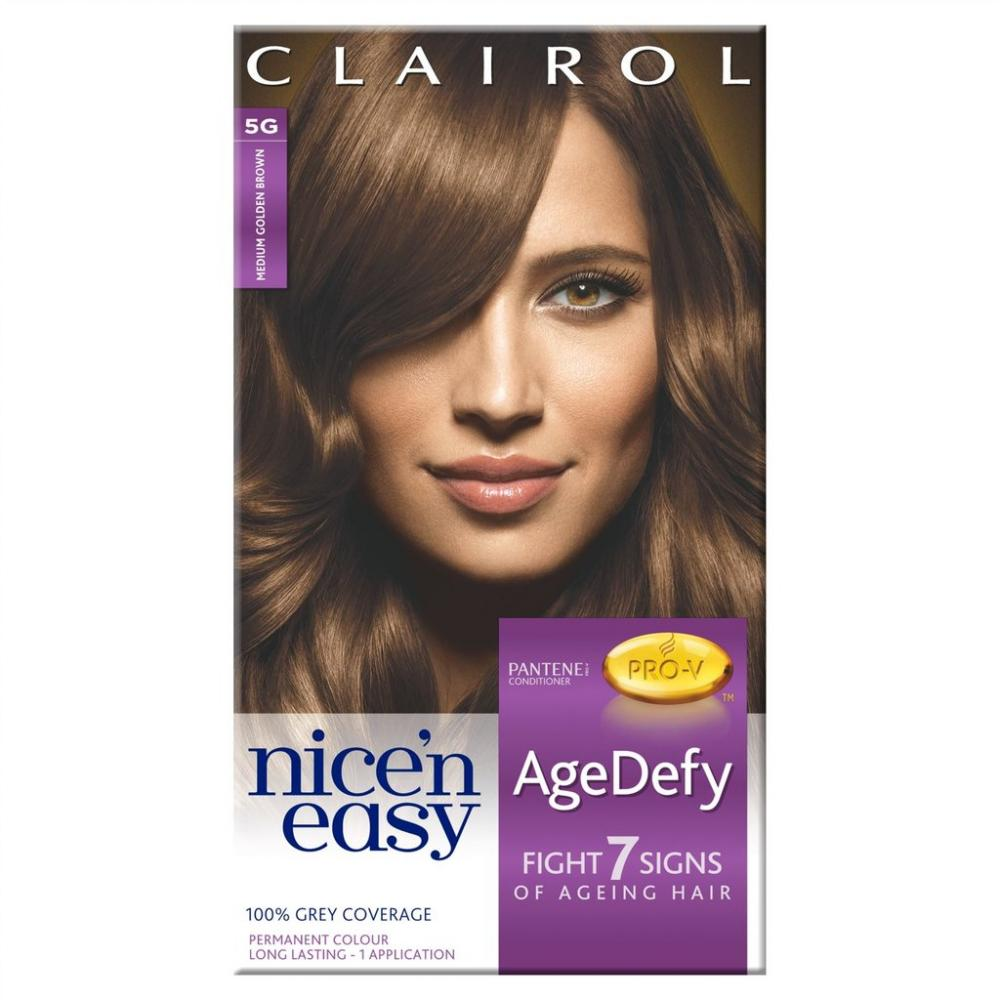 Clairol Nice n Easy AgeDefy Permanent Hair Dye Medium Golden Brown 5G