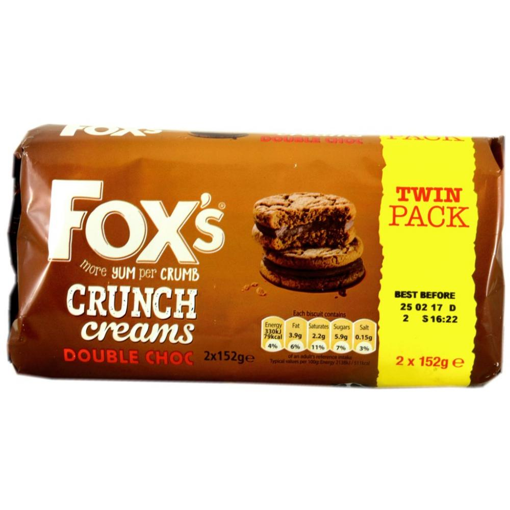 Foxs Crunch Creams Double Choc 2 x 152g