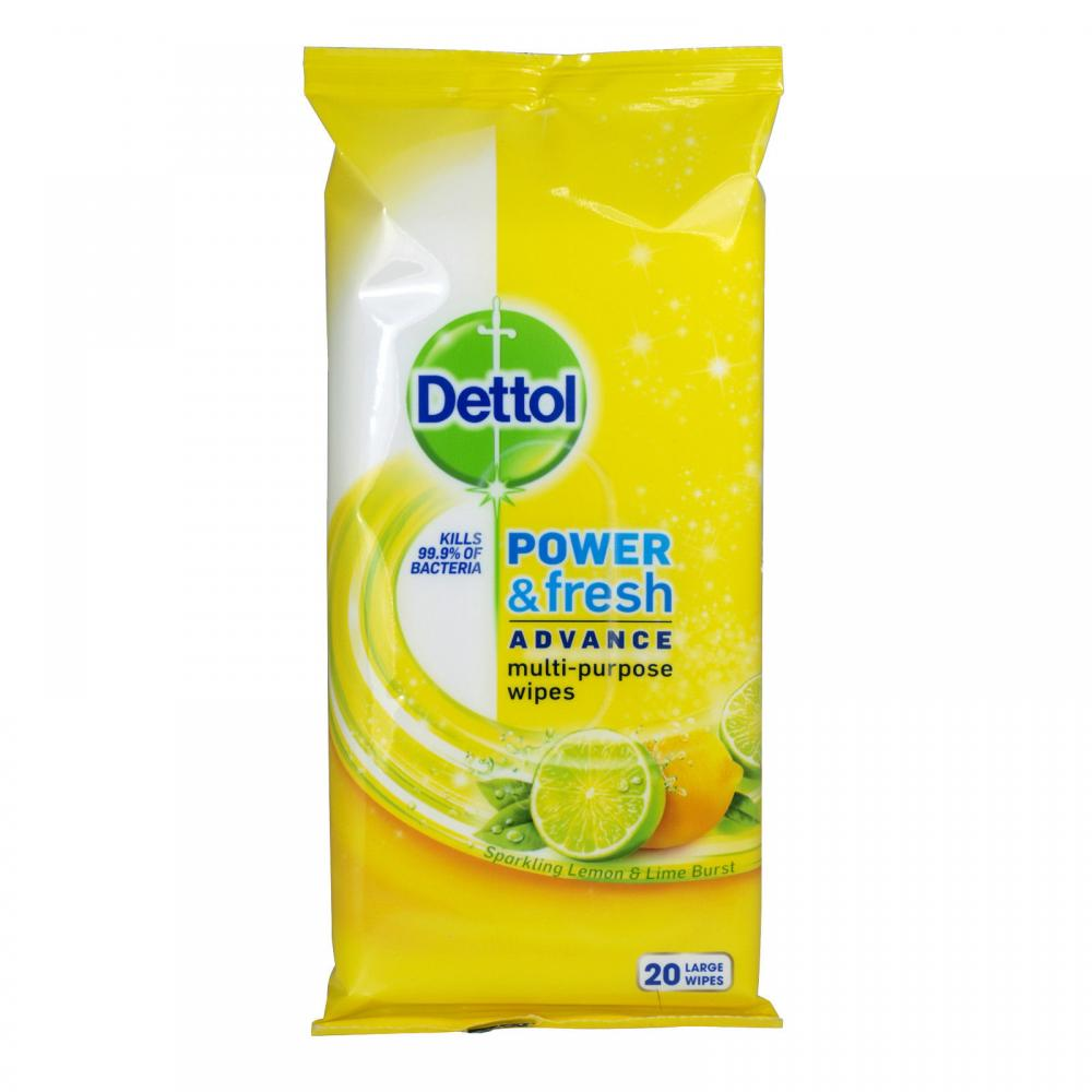 Dettol Power and Fresh Advance Lemon and Lime Multi Purpose Wipes 20 Large Wipes