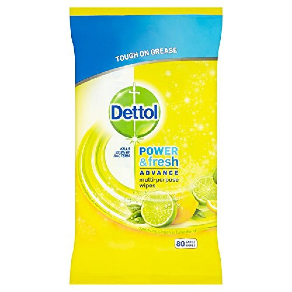 Dettol Power and Fresh - Lemon and LimeLarge 80 Wipes