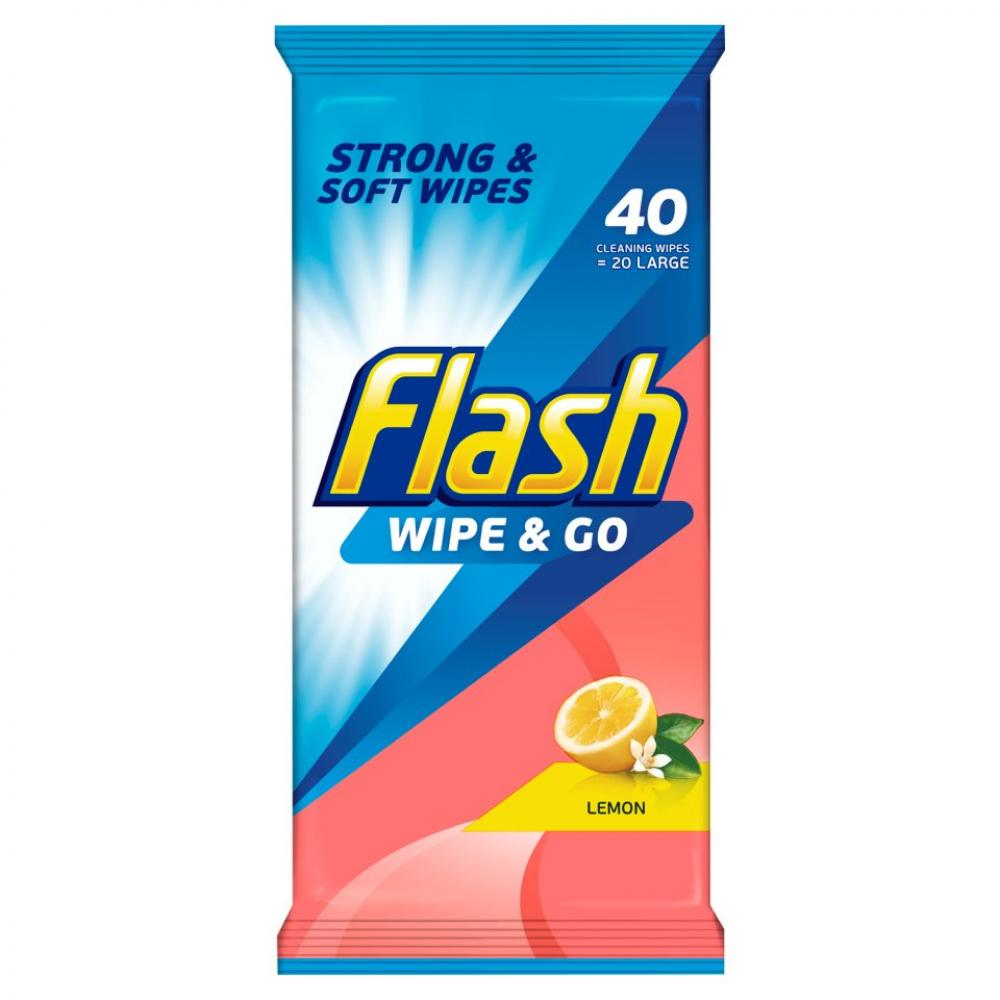 Flash Flash Wipe and Go Cleaning Wipes Lemon 40 Wipes