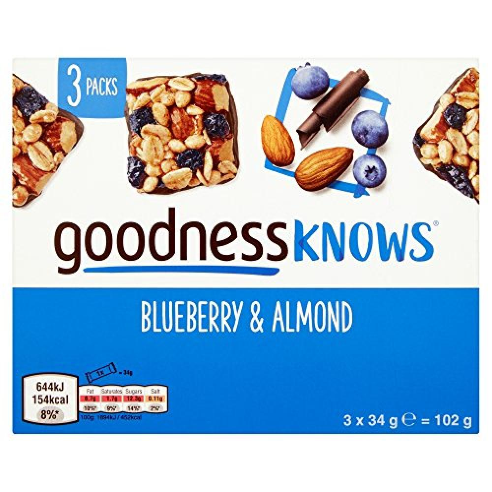 Goodness Knows Blueberry and Almond Multipack Bars (3 x 34g) 102 g