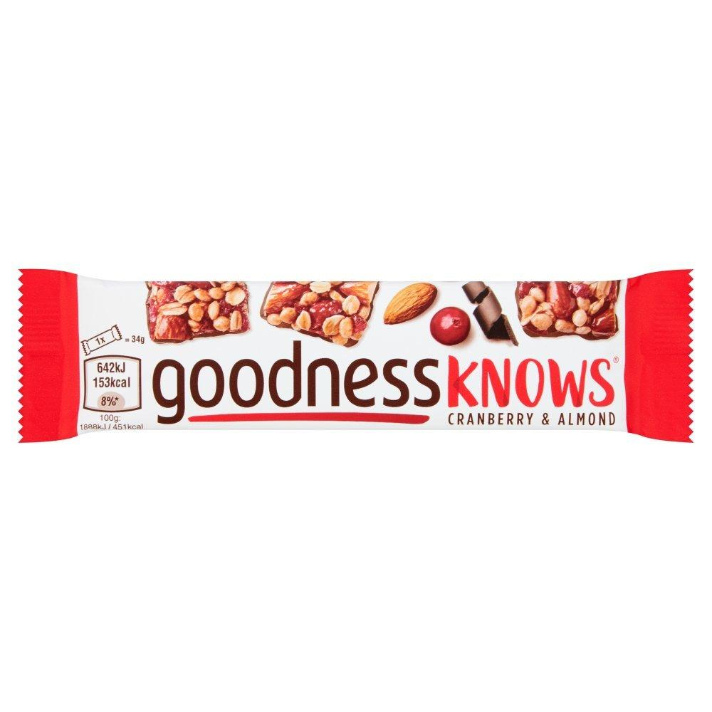 Goodness Knows Cranberry and Almond Bar 34g