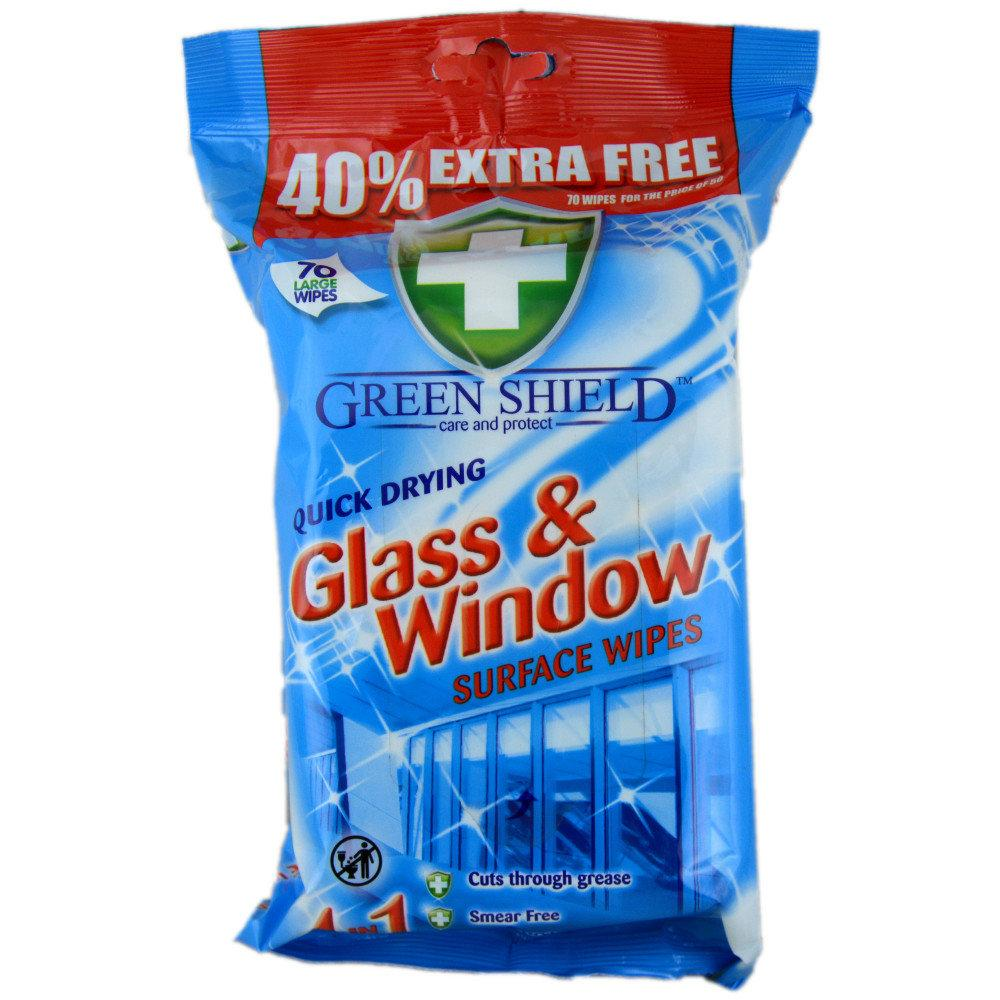 Green Shield Quick Drying Glass and Windows Surface Wipes 70 wipes