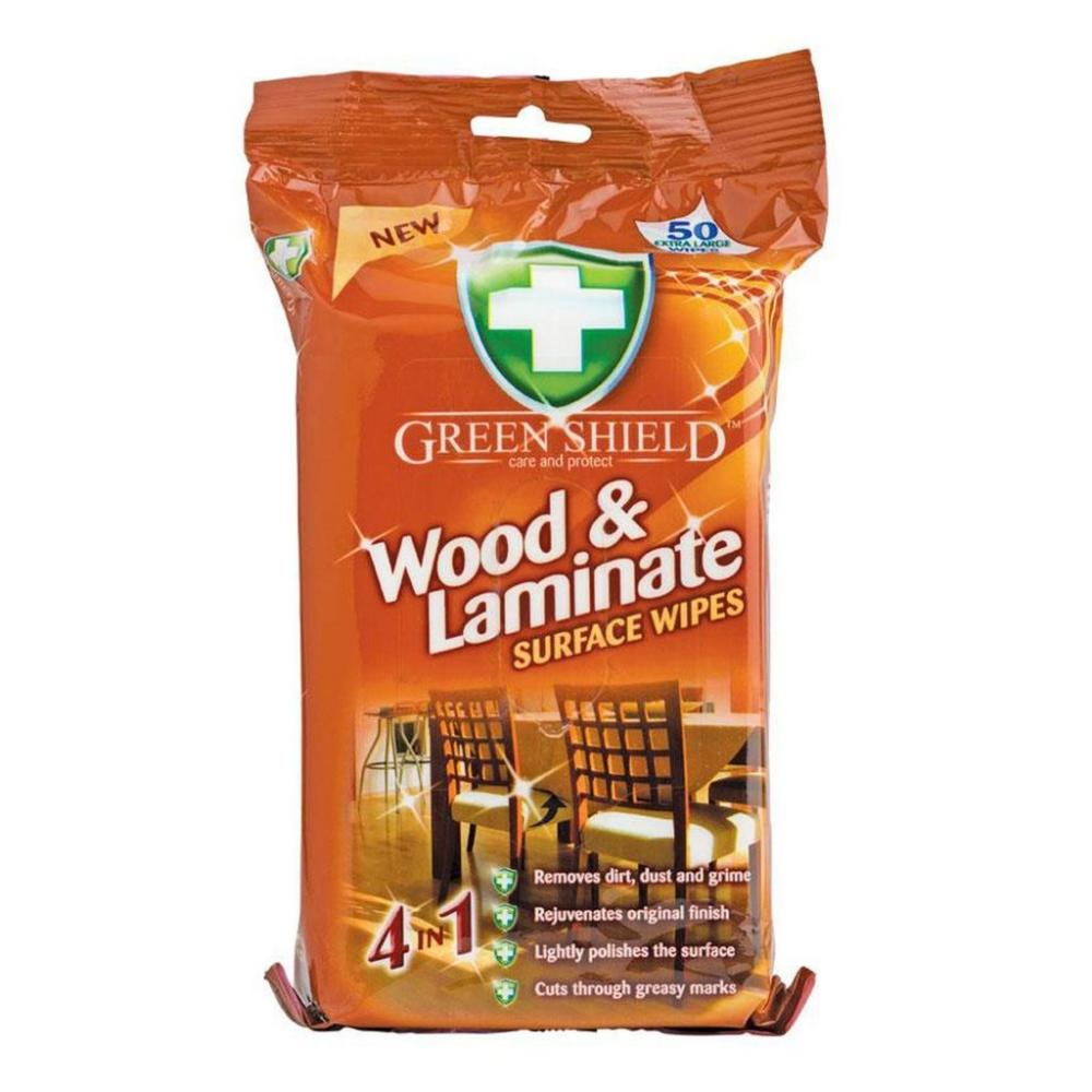Green Shield Wood and Laminate Surface Wipes pack of 50