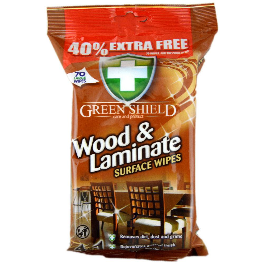 Green Shield Wood and Laminate Surface Wipes pack of 70