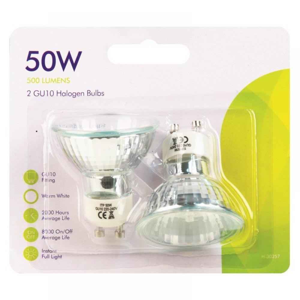 GU10 Halogen Bulbs 50 Watt 2 Pack