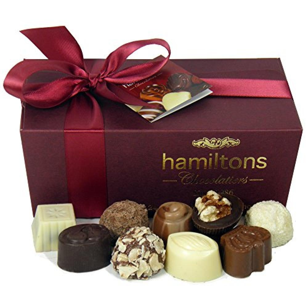 Hamiltons Burgundy Luxury Belgian Ballotin Handmade Chocolates Gift Box 24 Chocolates