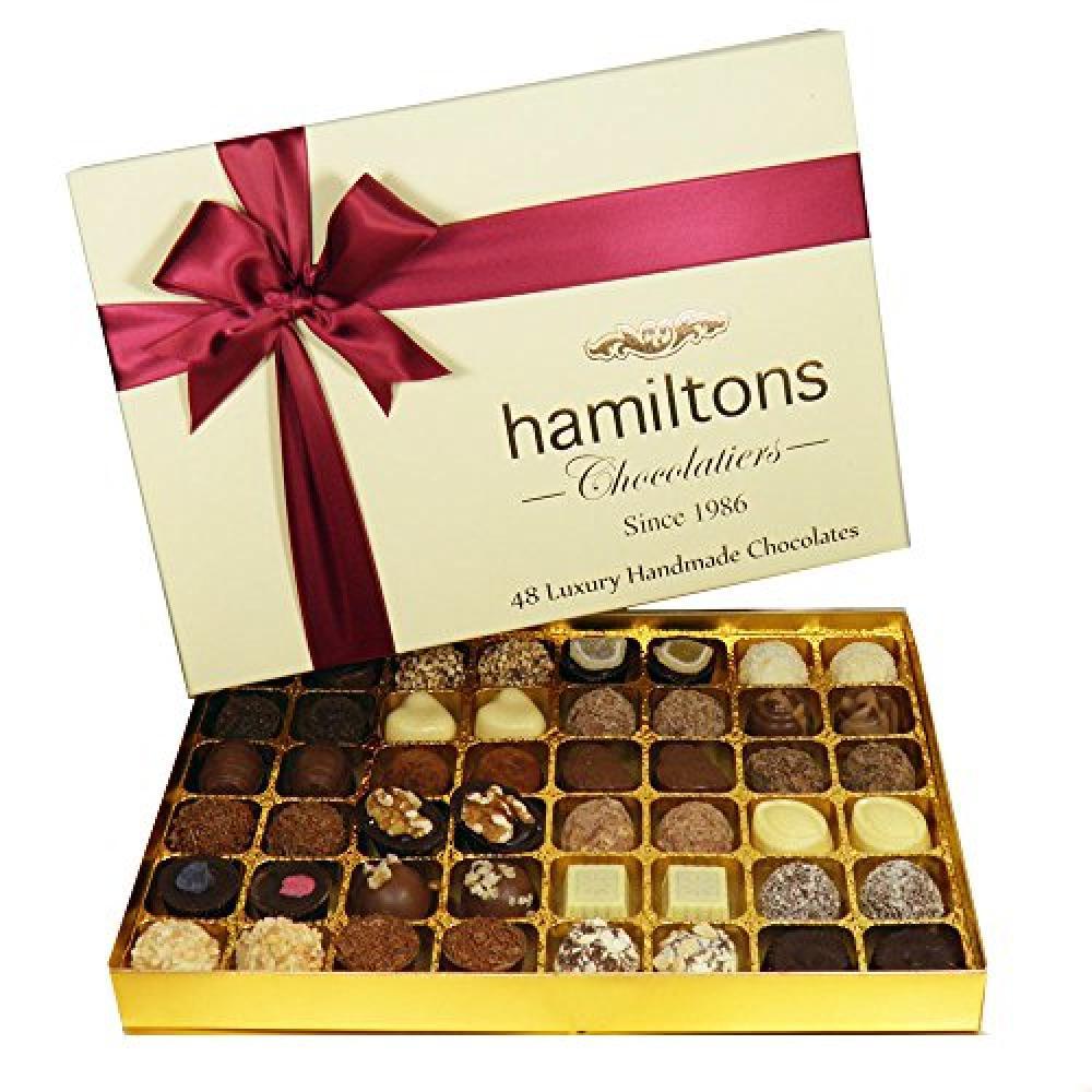 Hamiltons Ivory Premium Luxury 48 Handmade Chocolates Gift Box