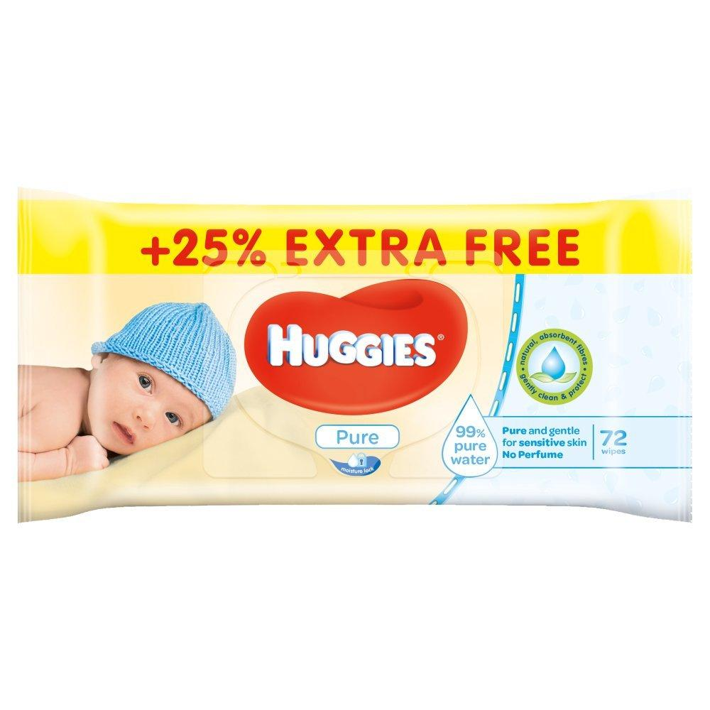 Huggies Pure Baby Wipes 72 Pack