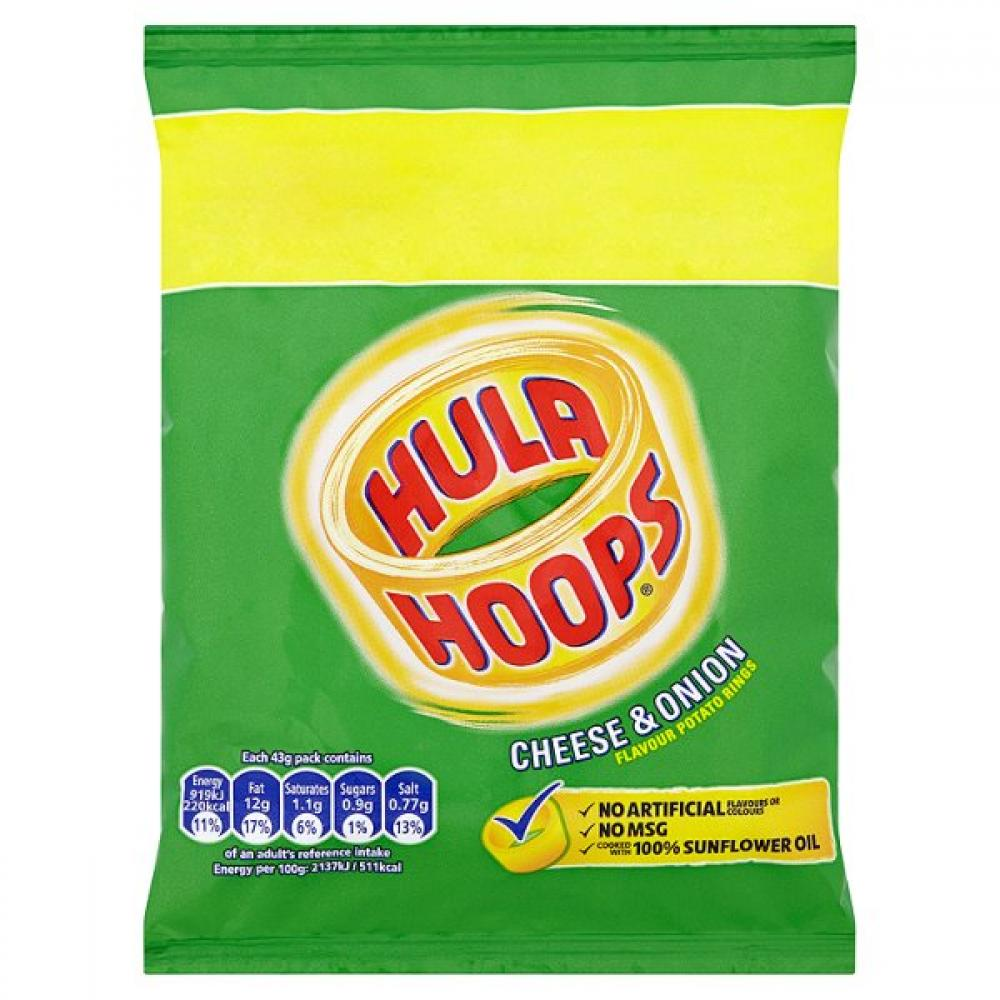 Hula Hoops Cheese and Onion Flavour 43g