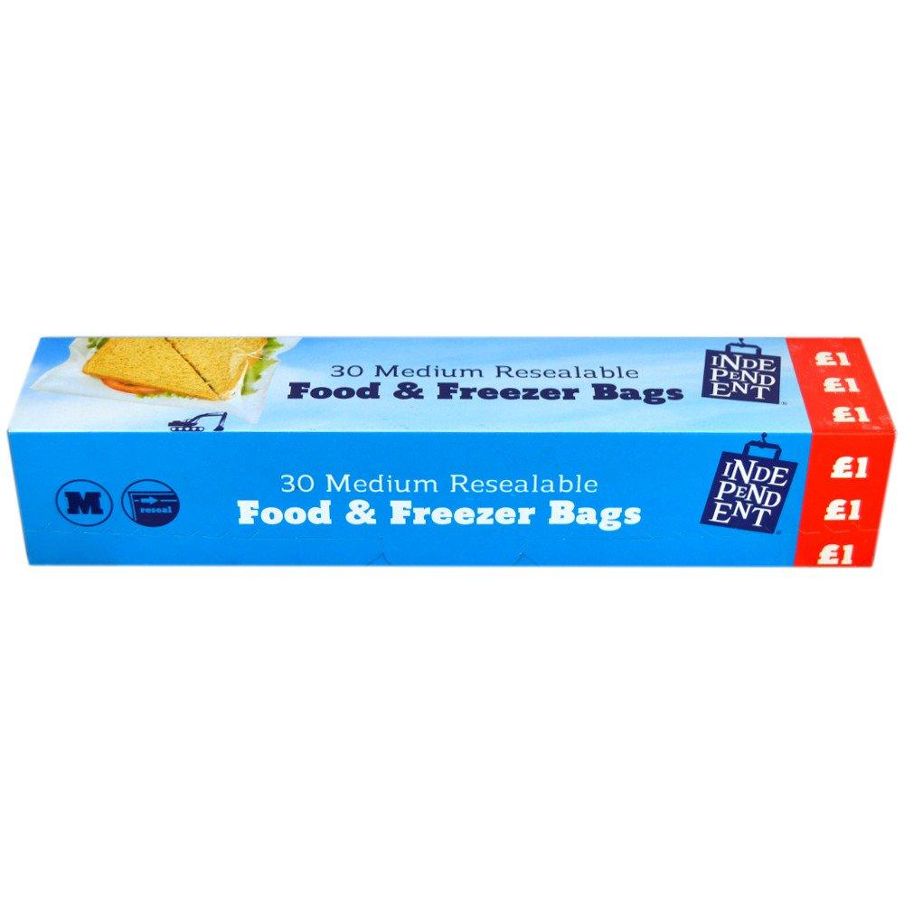 Independent Medium Resealable Food and Freezer Bags 30 pack