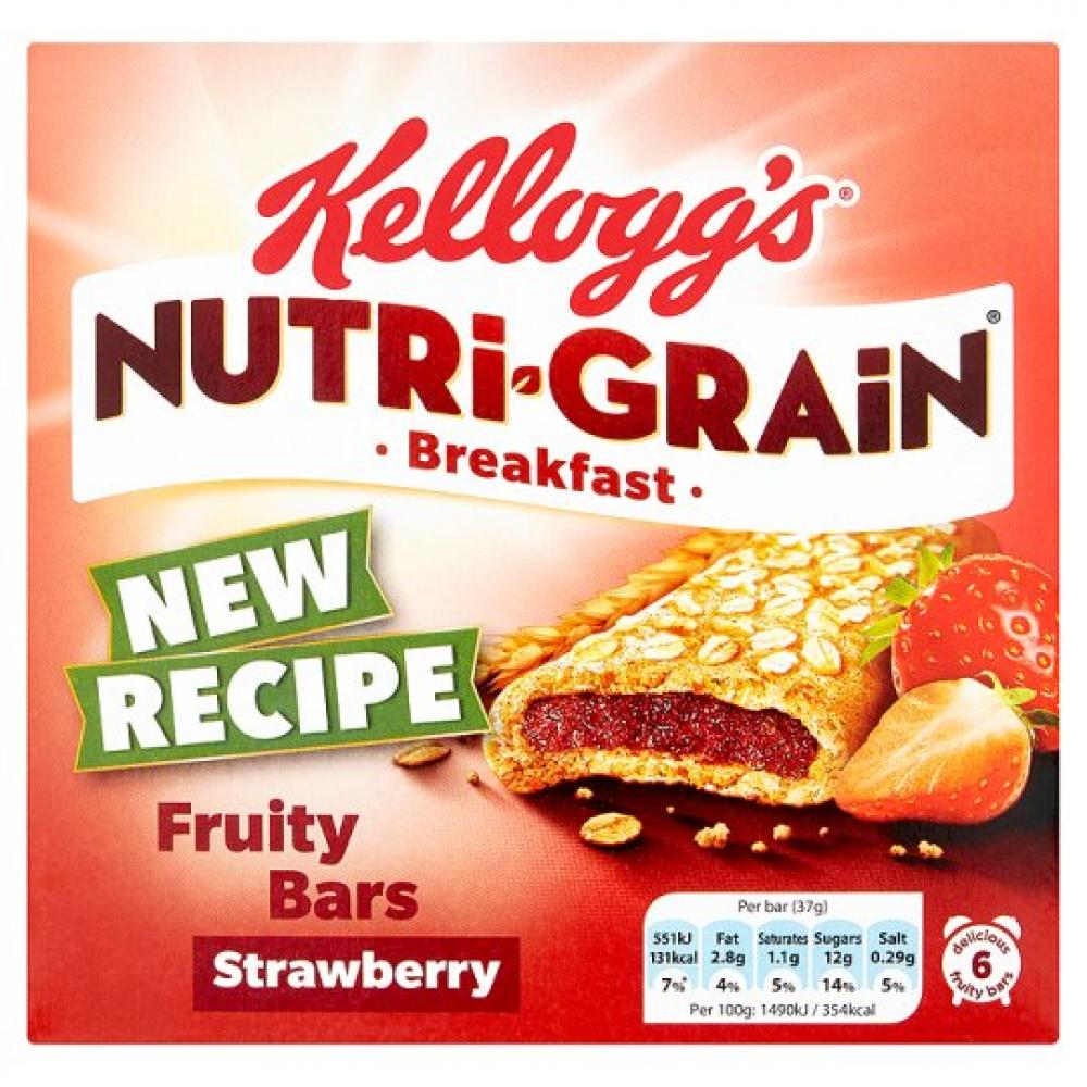 Kelloggs Nutri Grain Breakfast Fruity Bars Strawberry 37g x 6